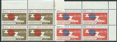 NEW HEBRIDES 1965 ITU set corner blocks of 4 MNH...50898
