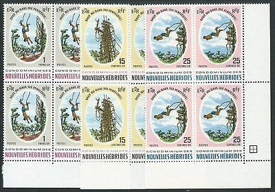 NEW HEBRIDES FRENCH 1969 Pentecost Land Divers set blocks of 4 MNH.........50945