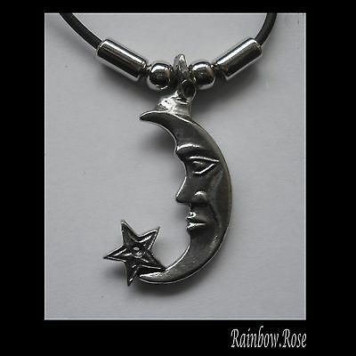 Choker #1266 MOON & STAR (43mm x 25mm) Rubber Necklace PENDANT