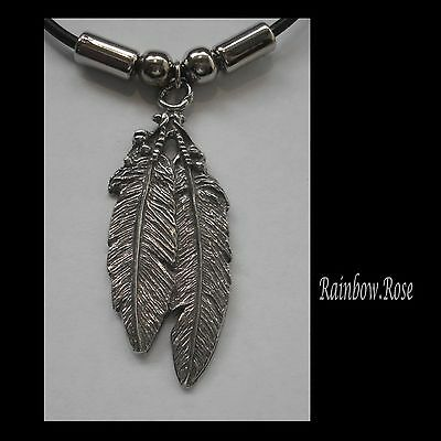 Choker #1486 DOUBLE FEATHER (46mm x 18mm)  Rubber Necklace