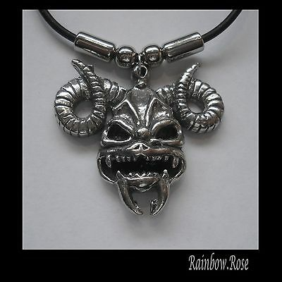 Choker #1500 RAM DEMON SKULL (39mm x 35mm) Rubber Necklace GOTH