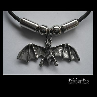 Choker #2445 BAT (33mm x 12mm) Rubber Necklace GOTH PENDANT
