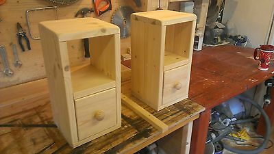## PAIR Handmade pine wooden wood bedside table, telephone table, drawers ##