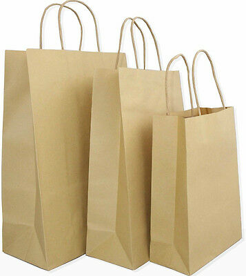 Brown Paper Gift Carrier Bags  *Choose own Size - FREE POST - 120 GSM PREMIUM