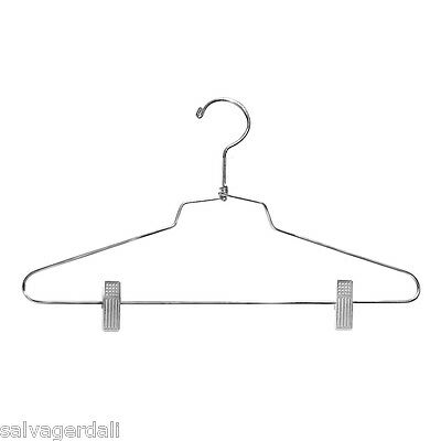 Suit Hanger 14 Inch w/Clips Retail Clothes Display Fixture Chrome Lot of 100 NEW