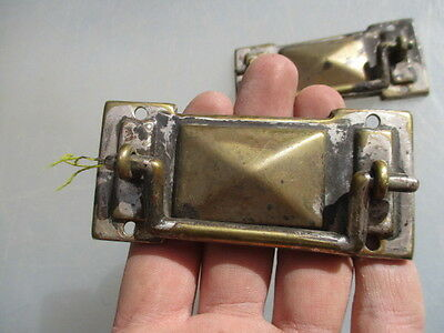 Antique Brass Drawer Handles Pull Architectural Vintage Old WT&S Old Pair Chrome