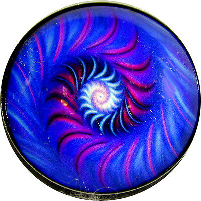 """1"""" Crystal Dome Button Mystical Spiral #31 -- Gorgeous! FREE US SHIPPING"""