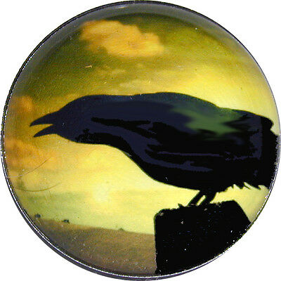 1 inch  Halloween Crystal Dome Button Raven at Sunset - HW2-02 FREE US SHIPPING