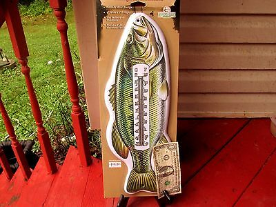 """Tin Large Mouth  Bass Fishing Nostalgic 17"""" Indoor Outdoor Thermometer  New"""
