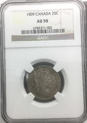 Canada 1909  25 Cents   NGC AU 58 Near Mint State Edward VII Silver Quarter