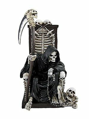 Grim Reaper on Throne with Undead Skeleton Pet Statue