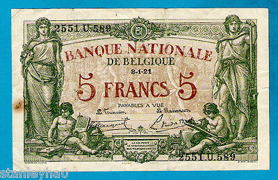 Belgium P75b 5 Francs/Frank ALLEGORICAL WOMAN & BOYS Early Issue 8.1.1921 XFRARE