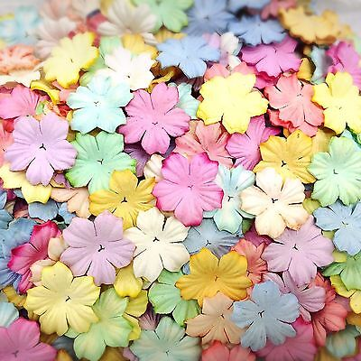 100 Mixed Pastel Color Flowers mulberry paper for Craft & D.I.Y #05