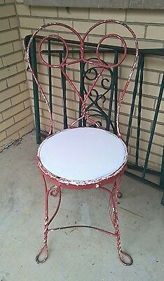 Vintage Red Wrought Iron w/ Twisted Metal Ice Cream Parlor Seat Chair