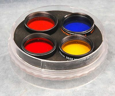 """4X 1.25"""" Red/orange/blue Planetary Viewing Filter Lot In Case - Telescope"""