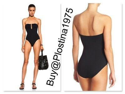 052db54e50b25 NEW Proenza Schouler Barbell-Trim Solid One-Piece Bandeau Swimsuit  Size M