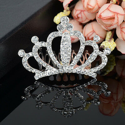 Lady Girl Rhinestone Hair Comb Headband Tiara Crown Wedding Prom Pageant Party