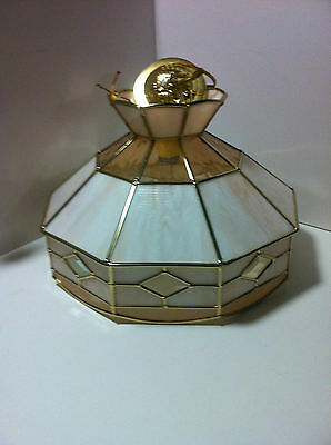 Vintage Colored Amber Stained Glass Light Fixture Hanging Ceiling Lamp