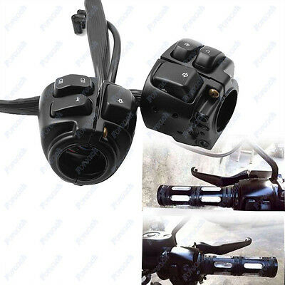 "Motorcycle 1"" Handlebar Switches Control Black + Wiring Harness For Harley Black"
