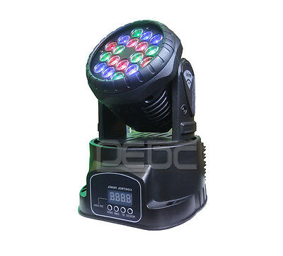 Eyourlife RGB 18 x 3W LED Moving Head Spot DMX512 Wash Light Stage Home Effects