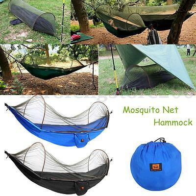 Portable Strength Camping Hammock Hanging Bed With Mosquito Net Black Blue NEW