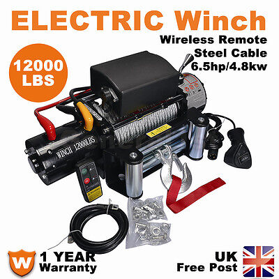 12V 12000lbs Electric Winch with Wireless Remote 4x4 ATV Boat Car Truck 24000LBS