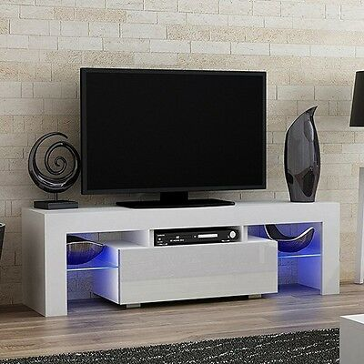 White High Gloss TV Cabinet Stand Ultra Modern Television Unit with LED Lights