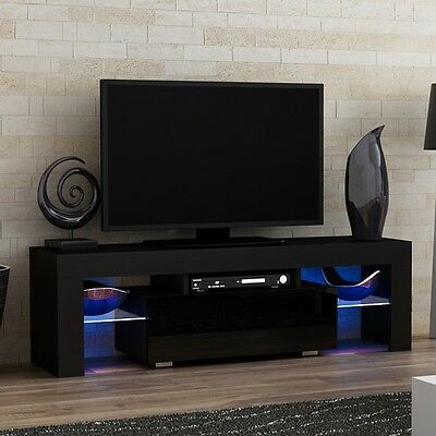Black High Gloss TV Cabinet Stand Ultra Modern Television Unit with LED Lights
