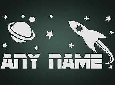 Personalised Space Planet Rocket Stars Boys Any Name Vinyl Wall Sticker Decal