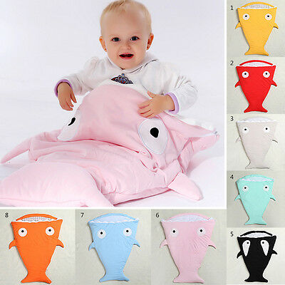 Baby Infant Winter Shark Swaddle Blanket Wraps Sleeping Bag For Pram Bed