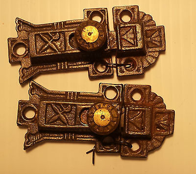 Pair of CAST IRON VICTORIAN STYLE CABINET LATCHES with catches  (#31)