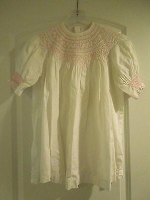 Vintage Handmade Children's Girls' Dress Peasant Style Cotton Pink Embroidery