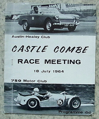 CASTLE COMBE 18 Jul 1964 AUSTIN HEALEY & 750 CLUB RACE MEETING Programme