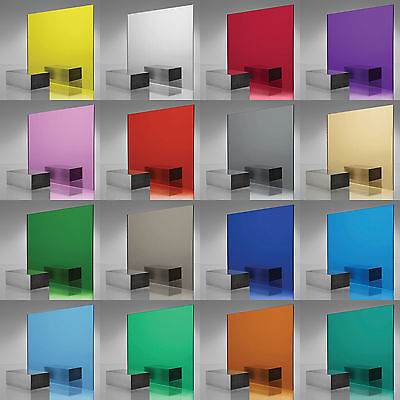 3mm Coloured Perspex Acrylic Plaskolite Mirror Sheet 15 Colours A3/A4