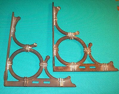 "Vintage  Pair Of Cast Iron Shelf Hangers ""late 1800's Early 1900's"