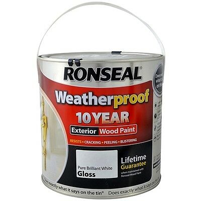 Ronseal Weatherproof 10 Year Exterior Wood Paint 2.5 Litre Brilliant White Gloss