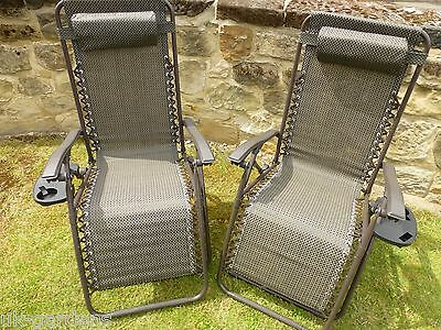 Set of Two Sun Lounger Garden Chairs With Drinks Trays - Brown Recliner Chair