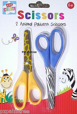2 x Childrens Kids Safety Scissors Animal Craft Art Stocking Filler School Paper