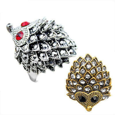 10 pcs Wholesale Lot Hedgehog Ring Mixed Cute Rhinestone Antique Silver Plated