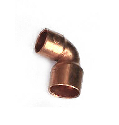 """1/2"""" x 3/8"""" inch 90° Degree Elbow Wrot Copper Sweat Fitting- Pack of 5"""