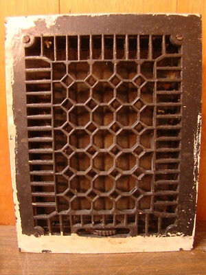 Antique Late 1800's Cast Iron Heating Grate Honeycomb Design 13.75 X 10.75 B