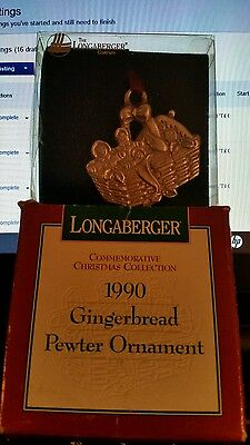Longaberger Christmas BASKET  PEWTER ORNAMENT Gingerbread 1990 Tie-on MINT
