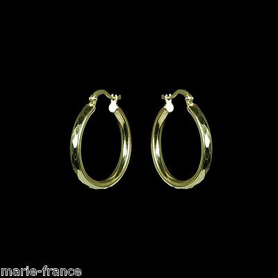"Gleaming 1"" diameter yellow gold hoop earrings with faceted edges M-F"