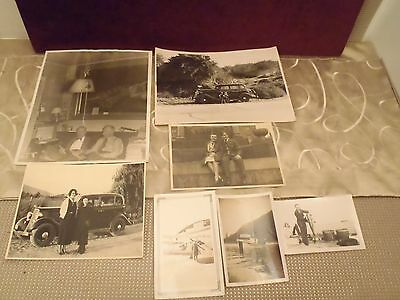 vintage original b&w photos c. 1930 lot of 7 cars, war, airplane, boat