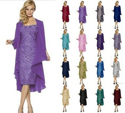 Best Chiffon Formal Evening Mother of the Bride Dresses Relaxed JACKET Size 6-20