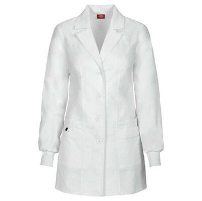 "Scrubs Dickies 32"" Jr. Fit Lab Coat White 85400 DWHZ      FREE SHIPPING"