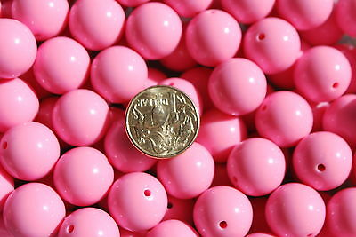 Bubblegum beads - Pink - 20mm - pk of 10 - jewellery bead necklace