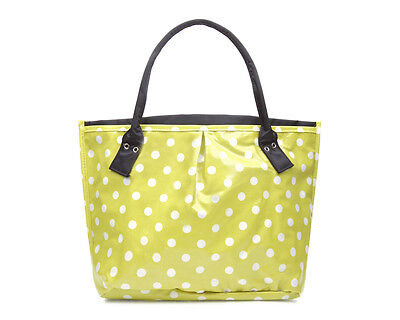 Women tote - Oilcloth polka dot bag - Shoulder shopper -  Craft Beach Bingo bag