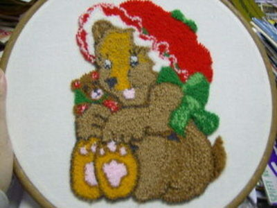 Finished Punch Embroidery Teddy Bear Mom, Baby + Frame