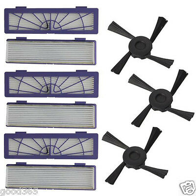 6PC Filter + 3PC Side Brushes Replacement For Neato Botvac 70e 75 80 85 D75 D80